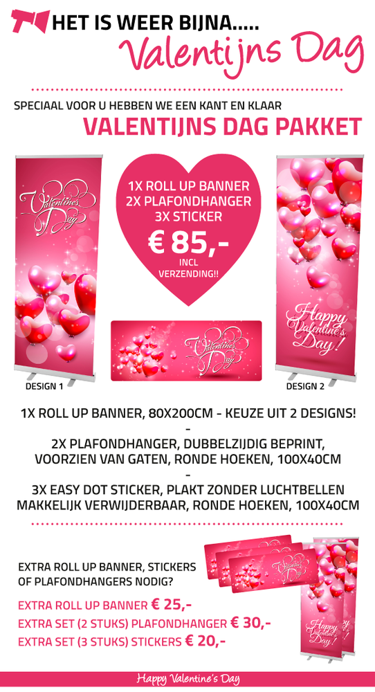 valentijn, roll up banner, plafondhanger, sticker, spandoek